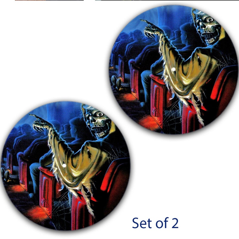 DJ Set Of 2 Creepshow #1 12 inch Slipmat Turntable Vinyl Audiophile DJ DJing 16 oz x2