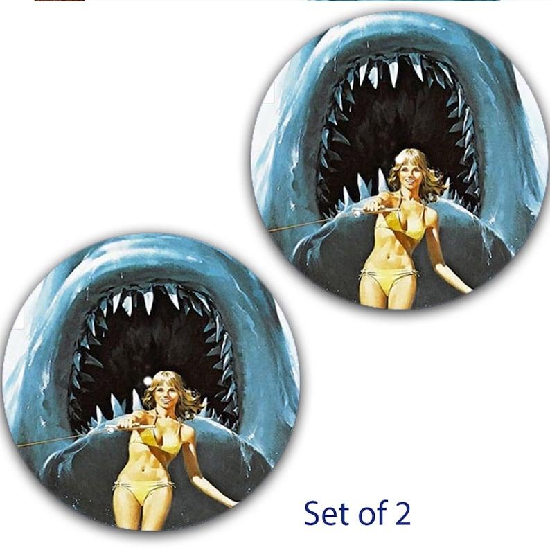 x2 DJ Set Of 2 Jaws Killer Shark #3 12 inch Slipmat Turntable Vinyl Audiophile DJ DJing 16 oz