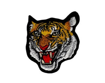 an30 Tiger Gelb Aufnäher Raubtier Katze Zoo Bügelbild Applikation 6 x 9,3 cm