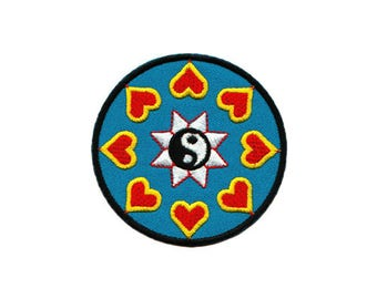ed30cb9e2 Ao16 Hindu Buddha Asia Esoteric Yin Yang Heart sign patch hanger patch  patches Size 7.0 x 7.0 cm