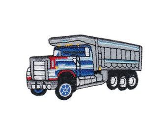 Aufnäher 10,9x7cm braun LKW Truck Kinder Patches Aufbügeln Bügelbild