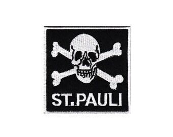 4dfcae8e45d Bg30 St. Pauli Skull Black Biker tattoo football patch ironing application  patch patches size 7.0 x 7.0 cm