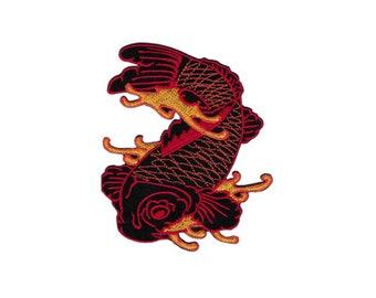 bf59 Koi Karpfen Tattoo Asien Fische Aufnäher Bügelbild Applikation Patch Kinder