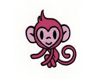 bb32 Affe Äffchen Banane Zoo Aufnäher Bügelbild Patch Applikation Kinder Baby