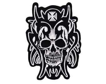 58b77c7a6 Ac21 Skull Devil tattoo Biker Skull patch hanger application Patch patches  size 8.0 x 11.5 cm