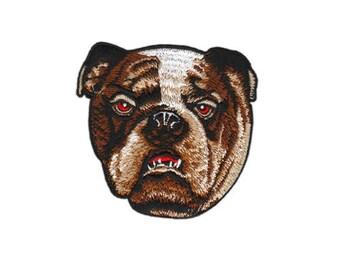braun Aufnäher // Bügelbild Hund mit Zigarette Patch Flicken 7,4 x 7,5 cm