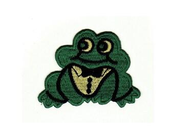 grün Patches Aufbügeln Frosch 12,3x7,3cm Aufnäher // Bügelbild