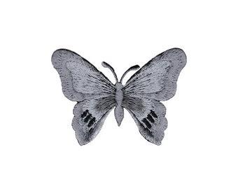 Bügelbild 6,5x4,7cm Aufnäher schwarz Schmetterling Nieten Strass