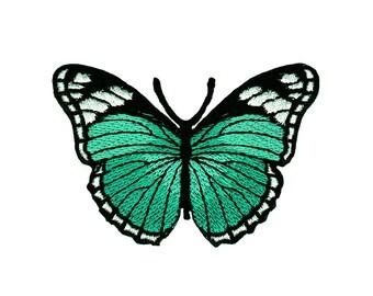 bunt Aufnäher // Bügelbild 8.5 x 8.3 cm Schmetterling Totenkopf