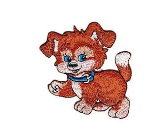 ab32 Hund Dackel Tier Aufnäher Kinder Bügelbild Patch Applikation Dog 10 x 5,4cm