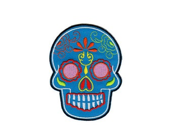 BB07 skull Blue Maxican tattoo biker skull Patch Ironing application patches size 6.6 x 9.0 cm