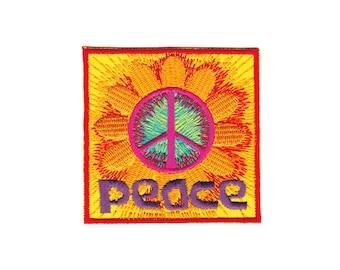 BG20 Peace sign Flower orange Patch Patch size 7.0 x 7.0 cm