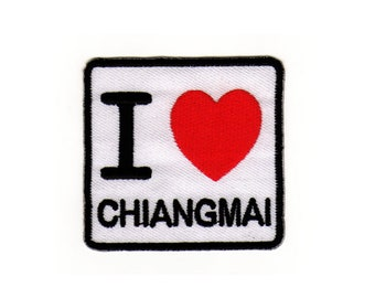 Ae09 I love Chiang Mai patch Thailand Asia Travel Country Ironing application Patch patches size 6.2 x 5.8 cm