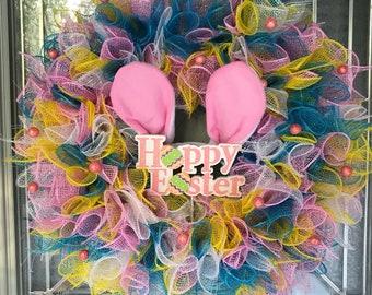 Colorful Easter wreath, mesh, bunny ears, rabbit ears, hoppy, pastel, multicolor