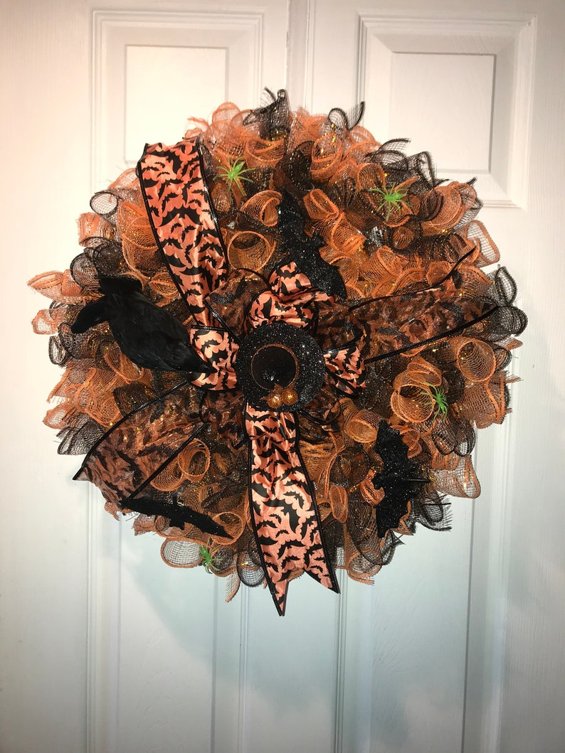 bats spiders Black and Orange Mesh wreath with witch hat raven and a bow