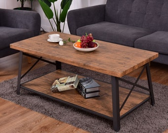 Rectangular Metal Frame Rustic Industrial Wood Sticker Style Coffee Table  With Open Shelf