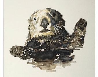 Sea otter - original watercolor painting