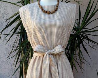 70's cream dress, beige checkered, belted, sleeveless, midi, vintage