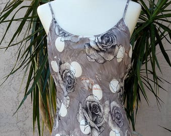 1990's Gray dress, black, cream, floral, rayon, summer, sleeveless, scoop neck, knee length, spaghetti strap, vintage