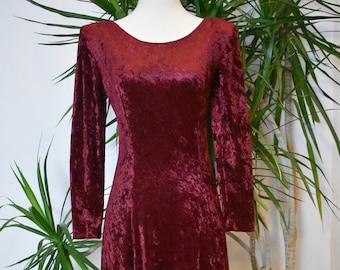 1980's Molly Malloy long velour burgundy dress, formal, long sleeve, scoop neck, low back, designer, vintage