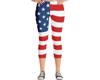 2dbf7387a5716 USA American Flag - Capri Leggings - July 4, 4th of July, Stars and  Stripes, Red White & Blue, America