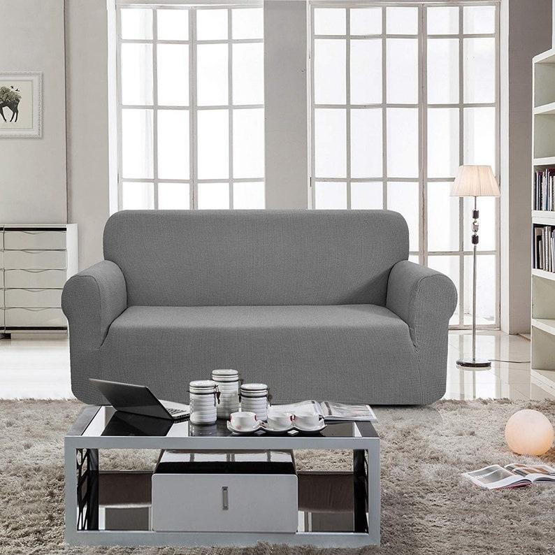 Enova Home Jacquard Polyester Spandex Fabric Box Cushion Sofa Slipcovers Furniture Protector Cover