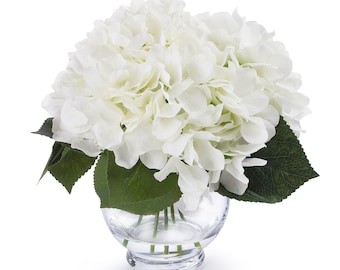 Enova Home  Silk Hydrangea Flower Arrangement in Clear Glass Vase With Faux Water Artificial Hydrangea Flower With Vase for Home Decoration