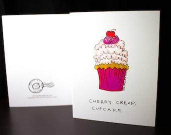 "5.5""x4"" Cherry Cream Cupcake Greeting Card"