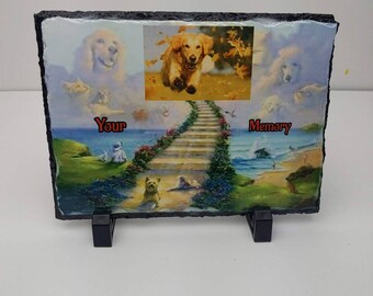 Sublimated pet memorial stone, slate garden marker for your pets that have crossed the rainbow bridge. Can do picture of your pet or name.