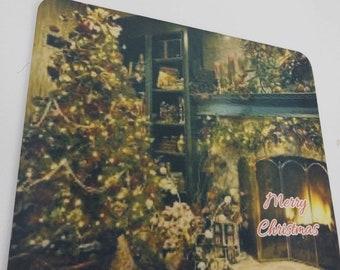Sublimated mouse pad, seasonal, one of a kind, beautiful Christmas fireplace scene.