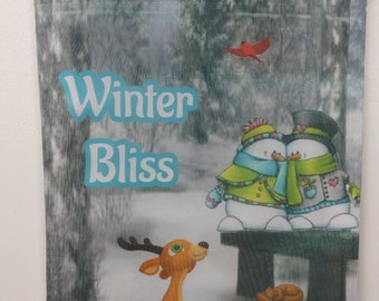 A winter friends garden flag to hang outside, to welcome friends and guest to your home.  everyone loves snowmen.