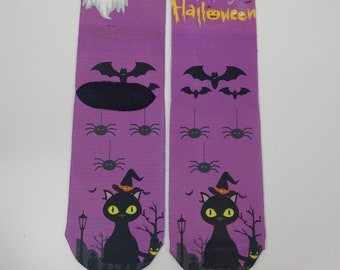 Time for Black Cats, and Mummies.  these crew socks are awesome. wear them anywhere getting ready for trick or threat and Halloween