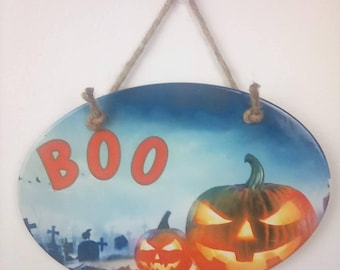 Halloween sublimated ceramic wall hanging. Bootastic gets you in the mood for Halloween. And those trick or treaters that will be coming.