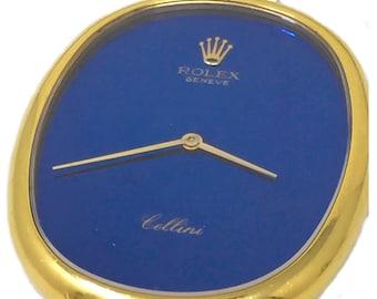 Rolex Rare 1970s 18Kt YG Cellini Pocket Watch Satin Blue Dial Vintage Rolex Timepiecec