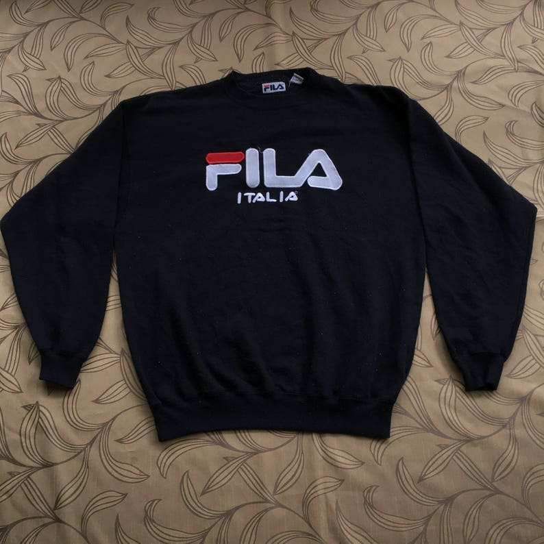 Rare!! Vintage Fila Italia Sweatshirt Crewneck Big Logo Spell Out Black  Sweater Size L