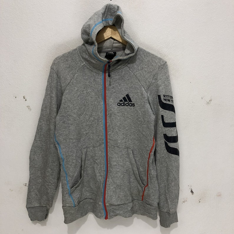Rare !! Adidas Sweat à capuche Zip Up Spell gros Logo pull Sweat gris taille grand