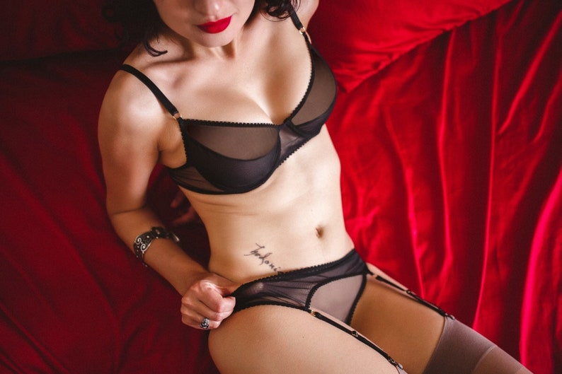 Black mesh classic stoking belt \u21fc nylons lingerie hips belt with garter suspenders \u21fc handcrafted nylons suspenders