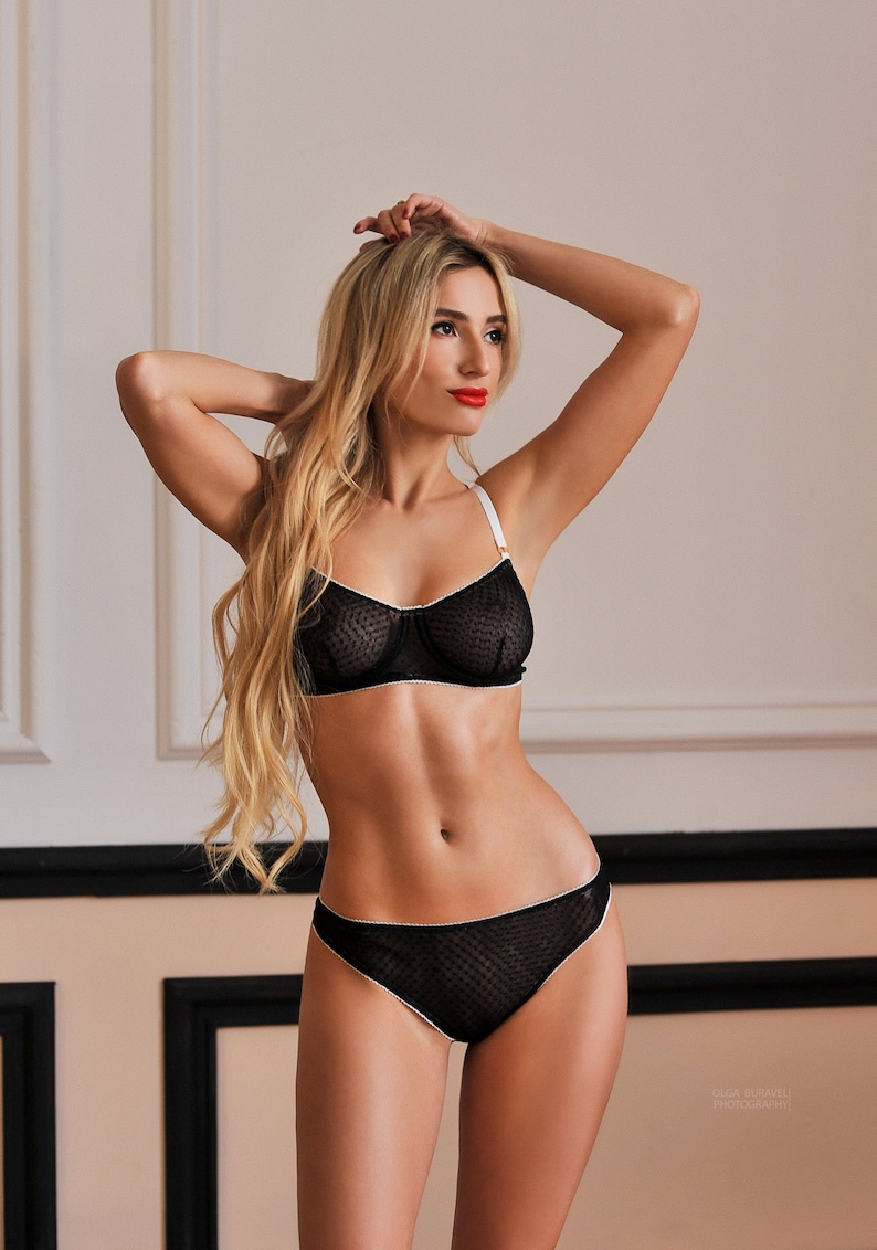 aba8f4519c Black lingerie set with white edgingblack erotic lingerie