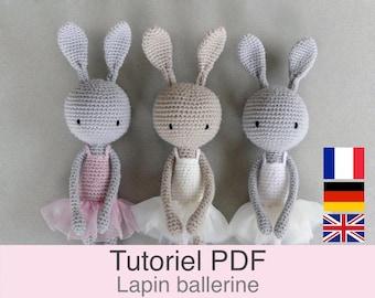 Tutoriel PDF en Français/English/Deutsch lapin ballerine au crochet, Patron crochet amigurumi lapin, Explications modèle au crochet