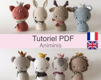 """Tutoriel PDF en Francais/English animaux au crochet, Amigurumi animaux les """"Animinis"""", patron à télécharger"""