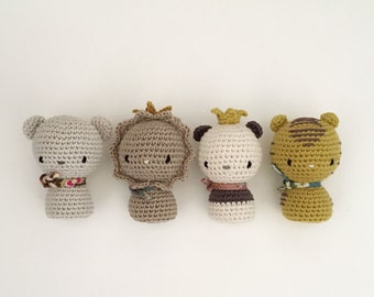 Lot of 4 mini crochet animal soft sofies. Wild animinis, lion, bear, panda and tiger.