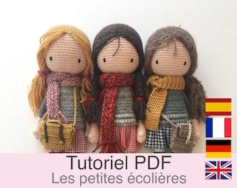 Tutoriel PDF en Français/English/Deutsch/Español, poupée au crochet, patron, explications modele au crochet