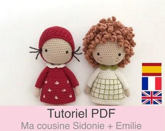 Tutoriel PDF en Français/English/Español poupée au crochet, patron, explications modele au crochet à télécharger