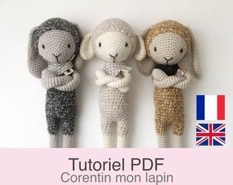 Tutoriel PDF en Francais/English , lapin et mouton au crochet, patron, explications modèle au crochet à télécharger
