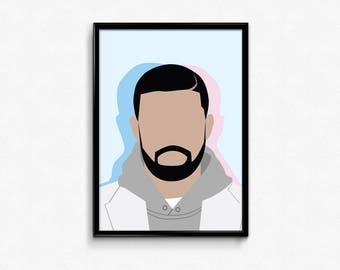 2e328cc90eb Drake Minimal Poster   Vector Art   Print   Music Artist   Plain    Multicolor   Digital Art   Drake Print   Hip-Hop