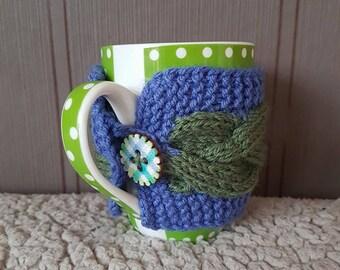 Tea Mug Cozy, Knitted mug warmer, Coffee Cup Sleeve, Coffee Mug Cozy, Knitted gift, Cup Cosy, Hand Knit Coffee Cozy, Handmade, Kitchen decor