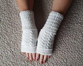 Womens gloves, Gloves fingerless, Knit Fingerless gloves, White gloves, Fingerless Gloves, Hand warmers, Boho gloves. Acrylic gloves