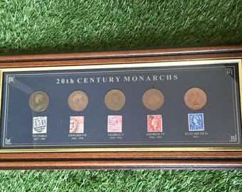 20th Century Monarchs - Coins and Stamps in Frame