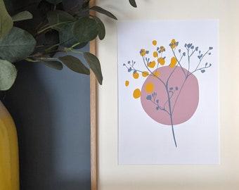 Floral Print, Abstract Wall Art, Digital Gypsophila A4 Print
