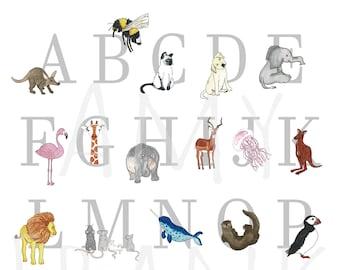 Alphabet poster, Alphabet Print, A3 Animal Alphabet, Nursery Wall Art, Neutral Nursery Art